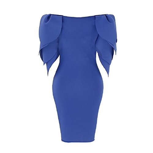 Bslingerie Ladies Yellow Long Sleeves Peplum Bodycon One Piece Dress (Blue, S)