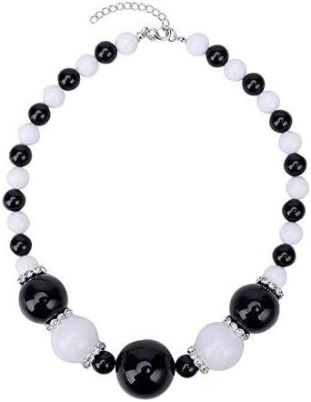 MKmd-s Exquisita joyería de Perlas con Perlas de Diamantes, Conjunto de Pendientes de Collar, Colores Brillantes, te Hacen más Brillante y Encantador en Blanco y Negro