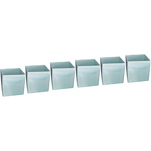 - Fabric Basket Bins - Organize Your Closet, Bedroom & Nursery (Turquoise Aqua Set of 6) (Premium Storage Cube)