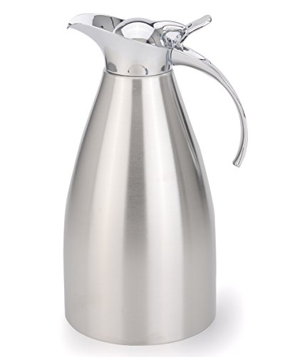 AceChef 68 Oz Coffee Carafe Stainless Steel Thermal Carafe,Double Walled Vacuum insulated Carafe,Thermos Beverage Server,Coffee Flask - Silver Vacuum Insulated Coffee Server
