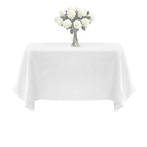 BalsaCircle TRLYC Polyester Tablecloth - 72X72 White Square Tablecloth Overlay 100% Polyester Wedding Table Linen