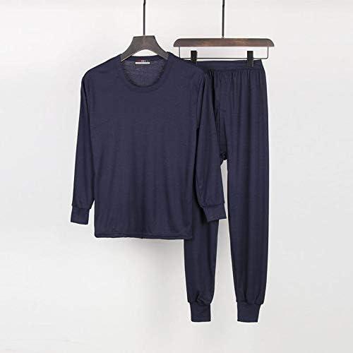 パジャマ CHJMJP 男性O-ネックパジャマスーツファッションホームウェア2PCSシャツ&PantSleep PJ設定された 男性パジャマナイトウェア (Color : ダークグレー, Size : XL)