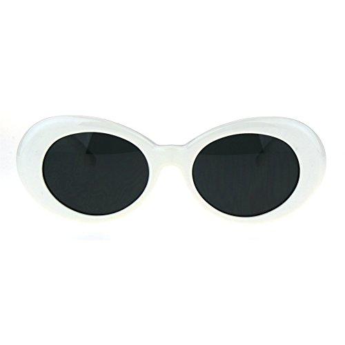 [Womens Thick Plastic Mod Oval Shaggy Retro Fashion Sunglasses White Black] (Mod White Sunglasses)