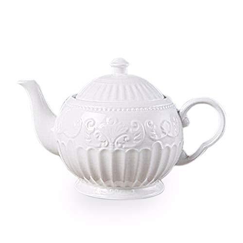 3D Rilievo Lace European Style Coffee Pot with Handle Pure White Classical Afternoon Tea Break Teapot Milk Jar ()