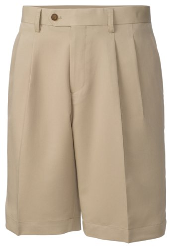 Cutter & Buck MCB01826 Mens Twill Microfiber Pleated Short, Khaki-38