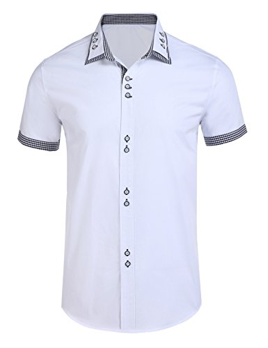 Simbama Mens Casual Short Sleeves Plaid Contrast Dress Button Down Polo Shirt