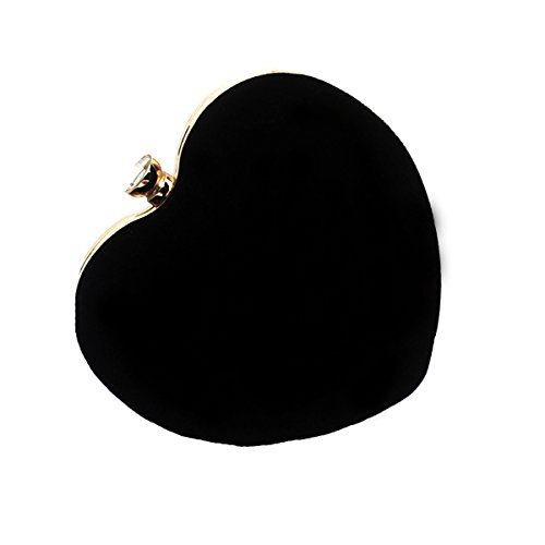 Heart Handbag Purse Evening Prom AiSi Women's Suede Messenger Bag Shoulder Shape Party Clutch Black Handbag wFAEOxvqR