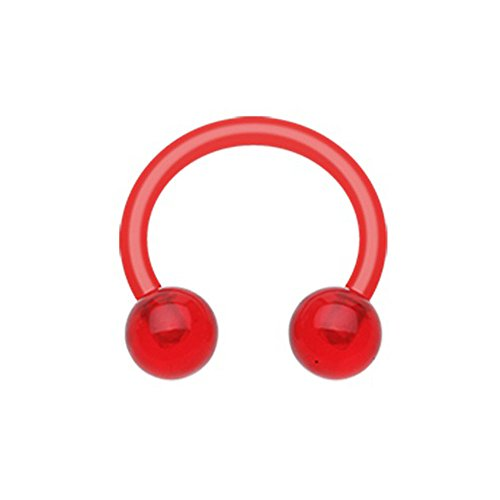 Inspiration Dezigns Red UV Acrylic Flexible Shaft Horseshoe Circular Barbell (14G, L: 3/8