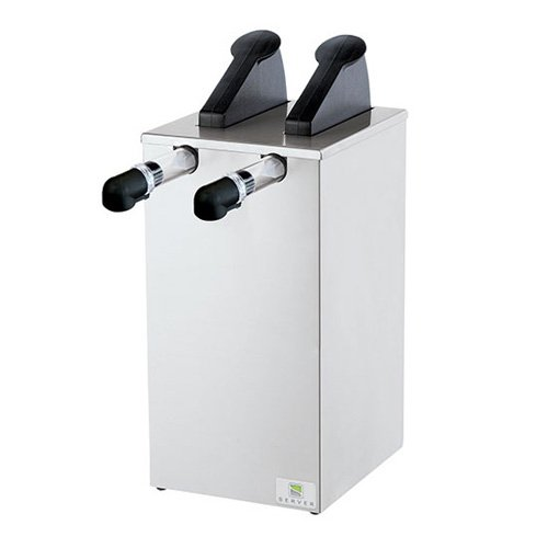 Server Products SLE-2-07520 Slim Express Pouched Condiment Station, (2) 07794 Pumps and Slim Base, (2) 96 oz, 16 mm Capacity, Black/Stainless Steel (Express Server Pump)