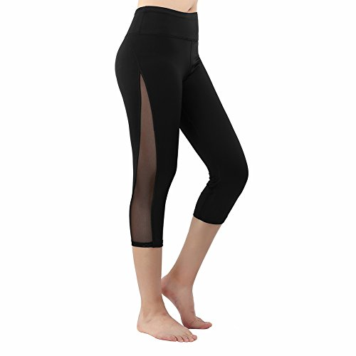 St. Jubileens Women's Mesh Yoga Pants High Waist Tummy Control Workout Running Leggings with Hidden Pocket