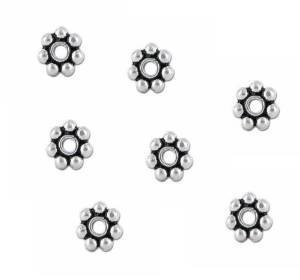 (Five Season 5mm Sterling Silver Bali Daisy Spacer Beads White Bronze Core for Bracelets DIY Jewelry Making (About 100pcs ))