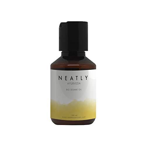 Ayurveda Sesamöl von NEATLY I Natürliches Hautpflege- und Haarpflegeöl 100 ml I Hautfeuchtigkeitscreme und Massageöl gegen trockene Haut I Vorbeugung von Anti-Aging I Bio mit Vitaminen