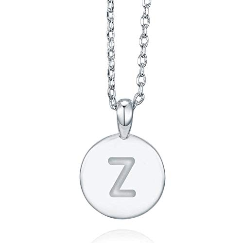 PAVOI 14K White Gold Plated Letter Necklace for Women | Gold Initial Necklace for Girls | Letter Z