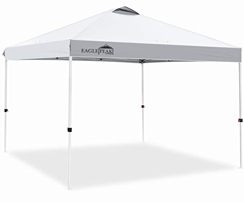 EAGLE PEAK 10 x 10 Pop Up Canopy Tent Instant Outdoor Canopy Straight Leg Shelter with 100 Square Feet of Shade White