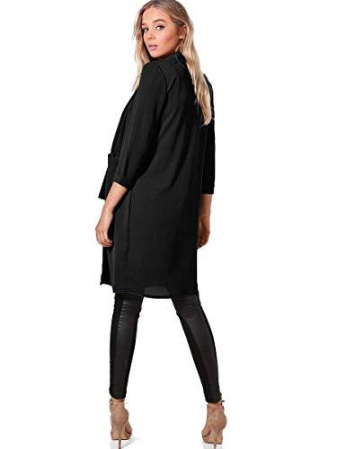 Allentato Autunno Lunga Tasche Grazioso Primaverile Colori Gr Outerwear Moda Cappotto Eleganti Con Manica Giacca Sciolto Cardigan Solidi Donna Bavero pqTXtt
