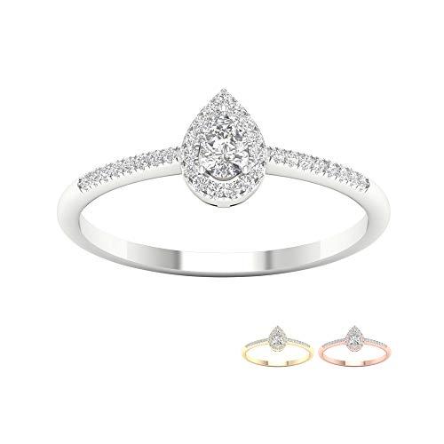 Tdw Diamond Promise Ring - IGI Certified 10k Yellow Gold 1/5ct TDW Pear Shape Diamond Halo ring, Solitaire Engagement Ring,Bridal Ring (I-J,I2)
