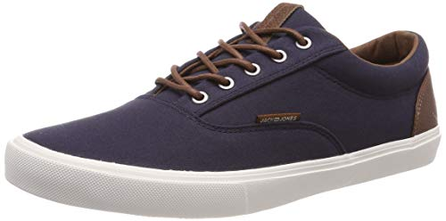 Mens Jack and Jones Vision Classic Mixed Navy Blazer Blue Canvas Trainer Size 7 (Jack And Uk Jones)