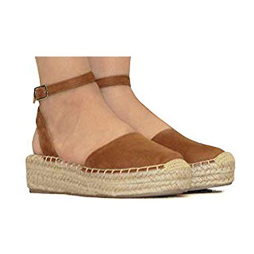 Hemlock Women Wedge Shoes Thick Bottom Shoes Closed Toe Shoes Espadrilles Casual Strappy Sandals Shoes Brown