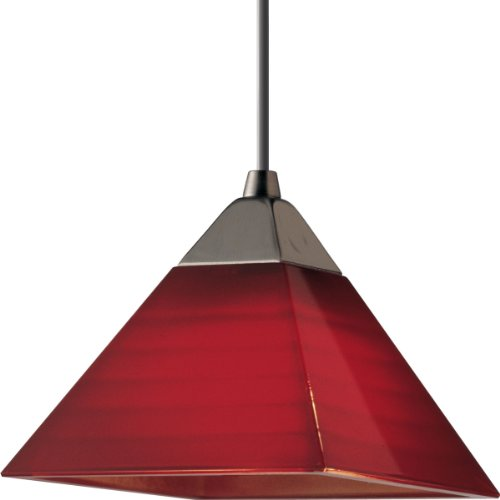 Pyramid Red Glass (Progress Lighting P6139-09R 12 Volt Low Voltage T4 Mini-Pendant with Pyramid Red Glass, Brushed Nickel)
