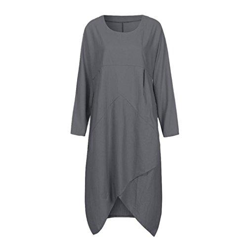 27fcc94c839 ... Lang Kleid Grau Lange Vintage Kleider Ärmel Plus Maxi Lose Janly Frau  Für Baggy Tunika Größe ...