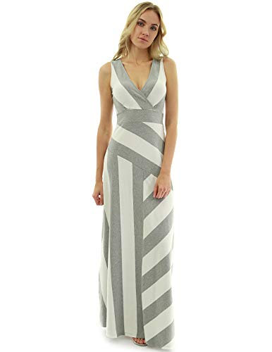 PattyBoutik Women Crossover V Neck Striped Maxi Dress (Heather Gray and Ivory X-Large Tall)