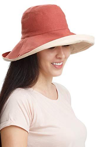 (Sun Hats Women Bucket Floppy Cotton Hat Wide Brim Summer Beach Caps Packable UV UPF 50+ Caramel)