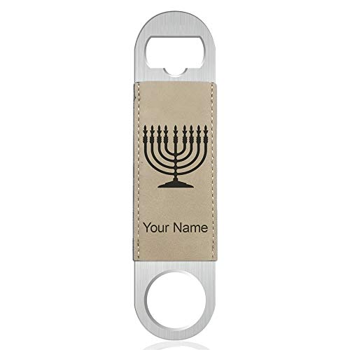 Personalized Menorah - Bottle Opener, Menorah, Personalized Engraving Included (Faux Leather, Light Brown)