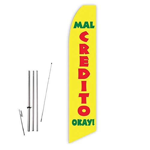 Mal Credito Okay! (Yellow) Super Novo Feather Flag - Complete with 15ft Pole Set and Ground Spike