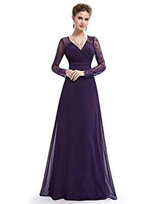 Ever-Pretty Women's Elegant V-Neck Long Sleeve Evening Party Dress 08692
