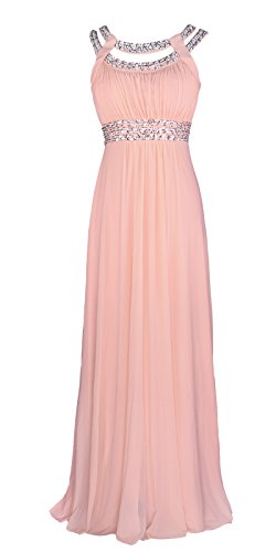 Licoco Women Sleeveless Beaded Semi-Formal Long Maxi Evening Gown Wedding Dress (Pink (Beaded Long Formal Dress)