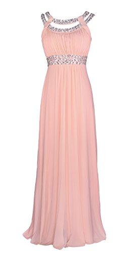 Licoco Women Sleeveless Beaded Semi-Formal Long Maxi Evening Gown Wedding Dress (Pink 70,XLarge)