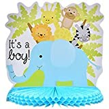 It's A BOY! Baby Shower Party Bundle for 18 with Plates, Napkins and 10 inch Zoo Animal Centerpiece