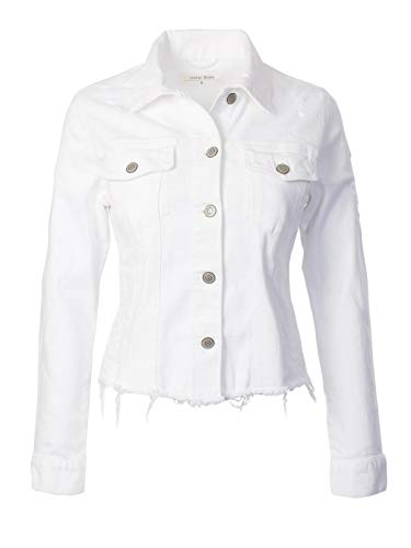 Instar Mode Women's Vintage Destroyed Stylish Frayed Hem Cropped Denim Jackets White ()