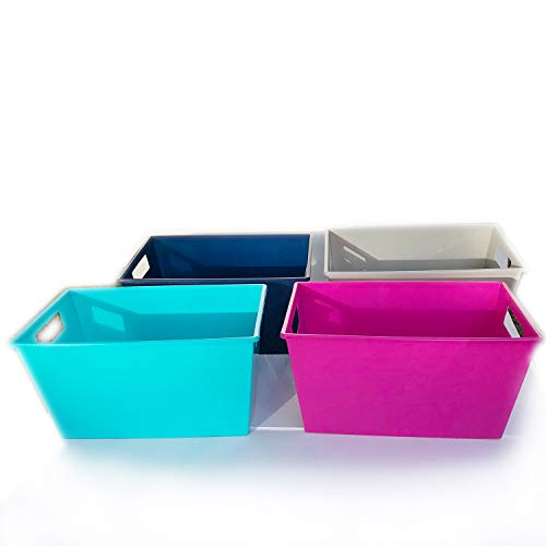 Pantry Organization and Storage Cubes Plastic Containers Colorful Rectangular Locker Bin with Handles Under Sink Bathroom Cabinet Shelf Kitchen Organizer Book Bins For Classroom Library 4ct Assorted