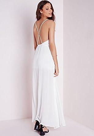 515759ef99 Womens Cheesecloth Plunge Maxi Dress White - 12  Amazon.co.uk  Clothing