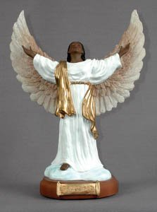 Positive Image Gifts African American Golden Open Armed Angel Figurine White