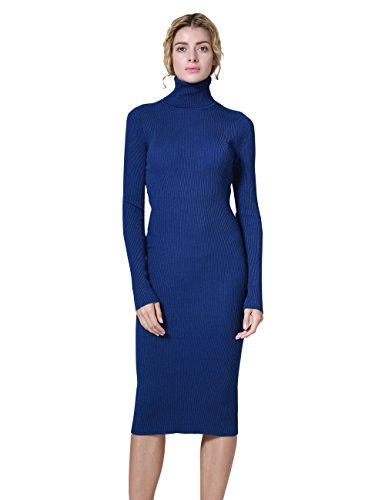Cashmere Womens Dress (Ninovino Women's Turtleneck Ribbed Long Sleeve Bodycon?Midi Dress Blue-S)