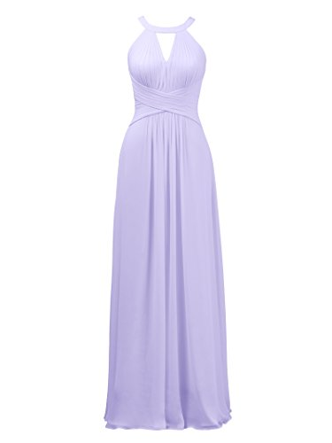 Alicepub Keyhole Bridesmaid Dress Long Formal Evening Prom Gown for Wedding Maxi, Lilac, US16 ()