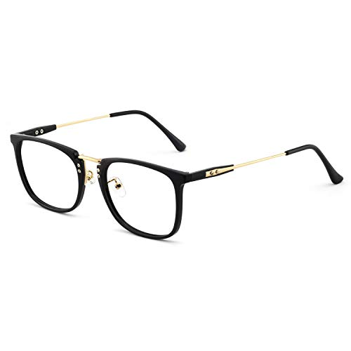 OCCI CHIARI Mens Rectangular/Square Fashion Acetate Eyewear Frame with Clear Lens (2002-Black/Gold(Anti-Blue light))
