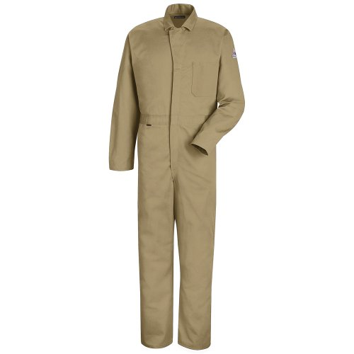 Bulwark Flame Resistant 4.5 oz Nomex IIIA Regular Classic Coverall with Hemmed Sleeves, Tan, Size 46 (Fr 46 Coverall Contractor)