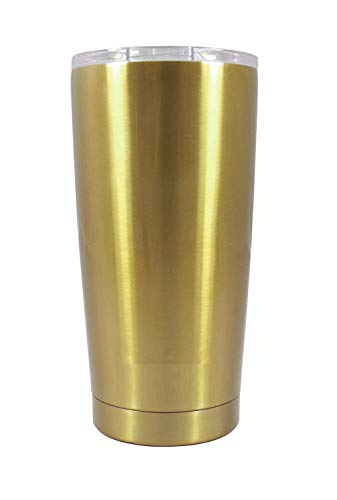 DYNAMIC SE Tumbler Double Wall Stainless Steel Vacuum Insulated Travel Mug with Splash-Proof Lid Metal Straw and Brush (Gold, 20oz)