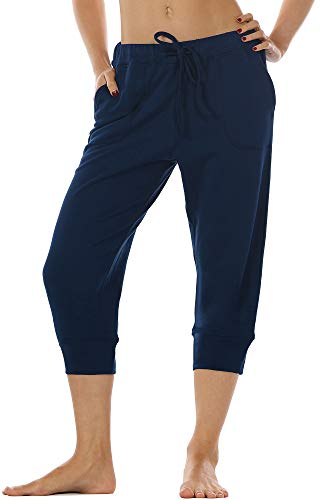 icyzone Women's French Terry Jogger Lounge Sweatpants - Active Capri Pants for Women (Navy, L)