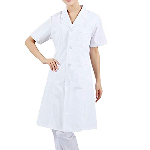 Women's Men's White Lab Coats Doctor Workwear - Unisex Lab Coat Scrubs Adult Uniform with 4 Button Closure (Small,Short Sleeve) -