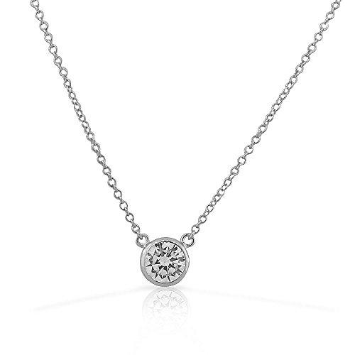 925 Sterling Silver Solitaire Bezel-Set White CZ Pendant Necklace, 18