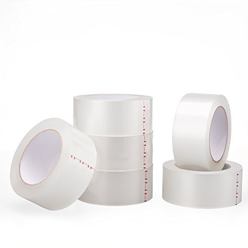 Metronic Clear Packing Tape 2.0 Mil Thick - Clear Packaging Sealing Tape, Carton Sealing Tape (6 Rolls Clear, 110 YDS)