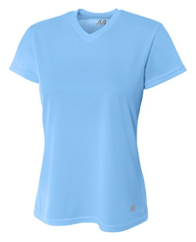 A4 Women's Birdseye Mesh Crew Short Sleeve Tee, Light Blue, (Bird Womens Light T-shirt)