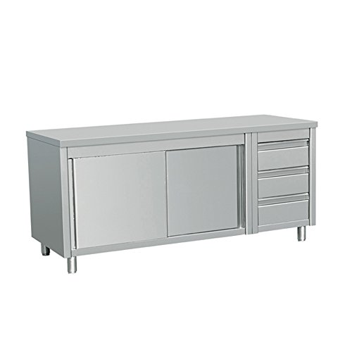 Table Drawer Work (EQ Kitchen Line Stainless Steel Commercial Prep Work Table Sliding Door Storage Cabinet and 3 Drawers on Right 64