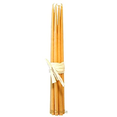 """BCandle 100% Beeswax 4-Hour Candles Organic Hand Made - 11"""" Tall, 3/8 Thick (Pack of 12) - 100% beeswax candle made with a cotton wick and contain no lead or metal. Beeswax candles provide a pure and clean-burning flame that produces very little smoke, clean the air by releasing cleansing ions. Candles burn cleaner and longer than regular paraffin candles. Approximately candle burn 4 hours. Like most organic stuff, each of these beeswax candles is a tiny bit different from others, which makes them all pretty unique. - living-room-decor, living-room, candles - 31tZX8cyVqL. SS400  -"""