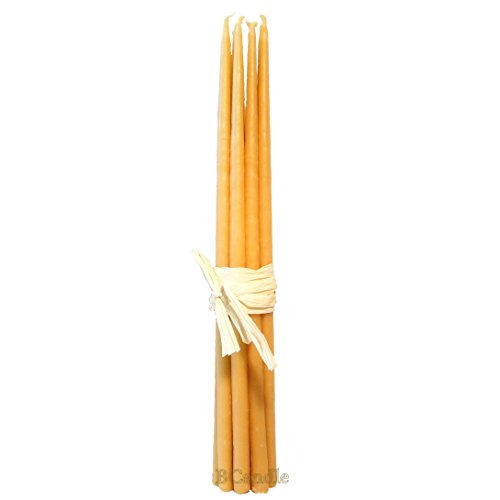 BCandle 100% Beeswax 4-Hour Candles (Set of 12) Organic Hand Made - 11 Inches Tall, 3/8 Inch Thick