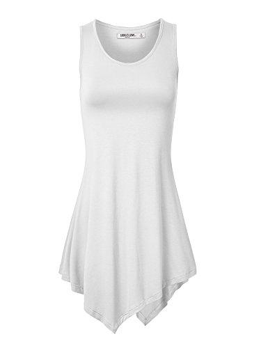 WT671 Womens Handkerchief Hem Tank Tunic Top XXXL WHITE